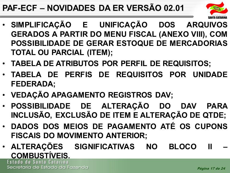 PAF-ECF – NOVIDADES DA ER VERSÃO 02.01