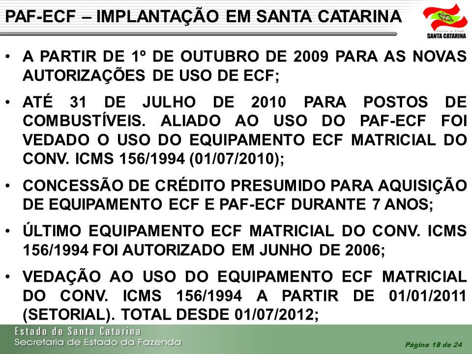 PAF-ECF – IMPLANTAÇÃO EM SANTA CATARINA