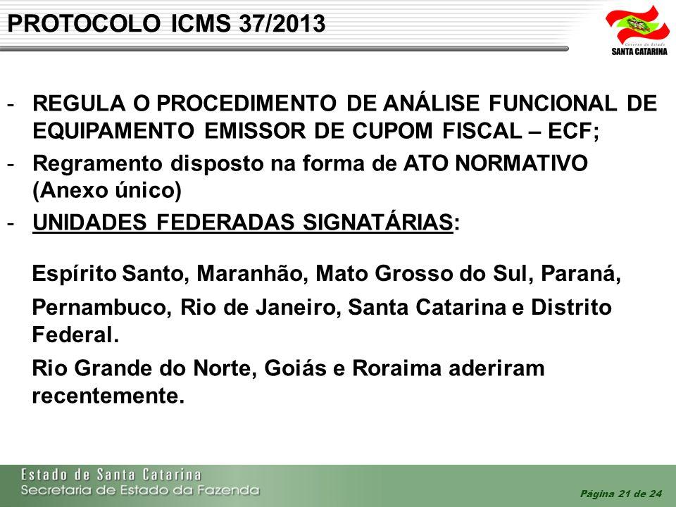 PROTOCOLO ICMS 37/2013 Regula o procedimento de análise funcional de equipamento Emissor de Cupom Fiscal – ECF;