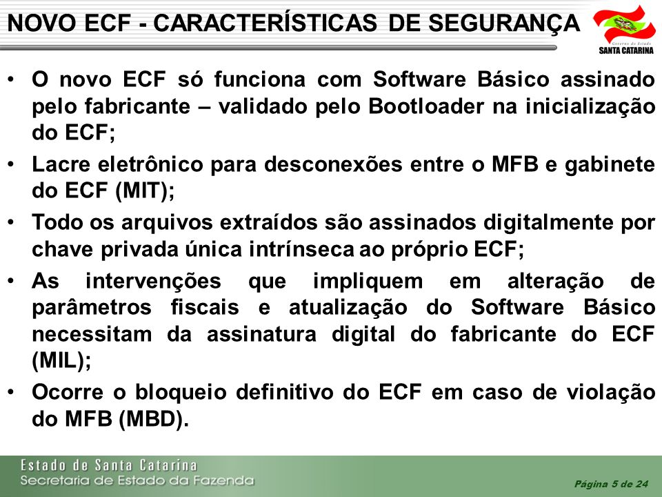NOVO ECF - CARACTERÍSTICAS DE SEGURANÇA