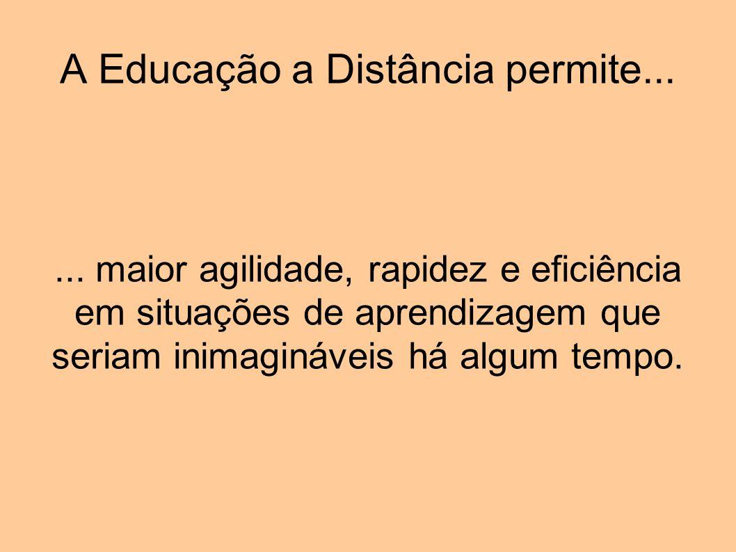 A Educação a Distância permite...