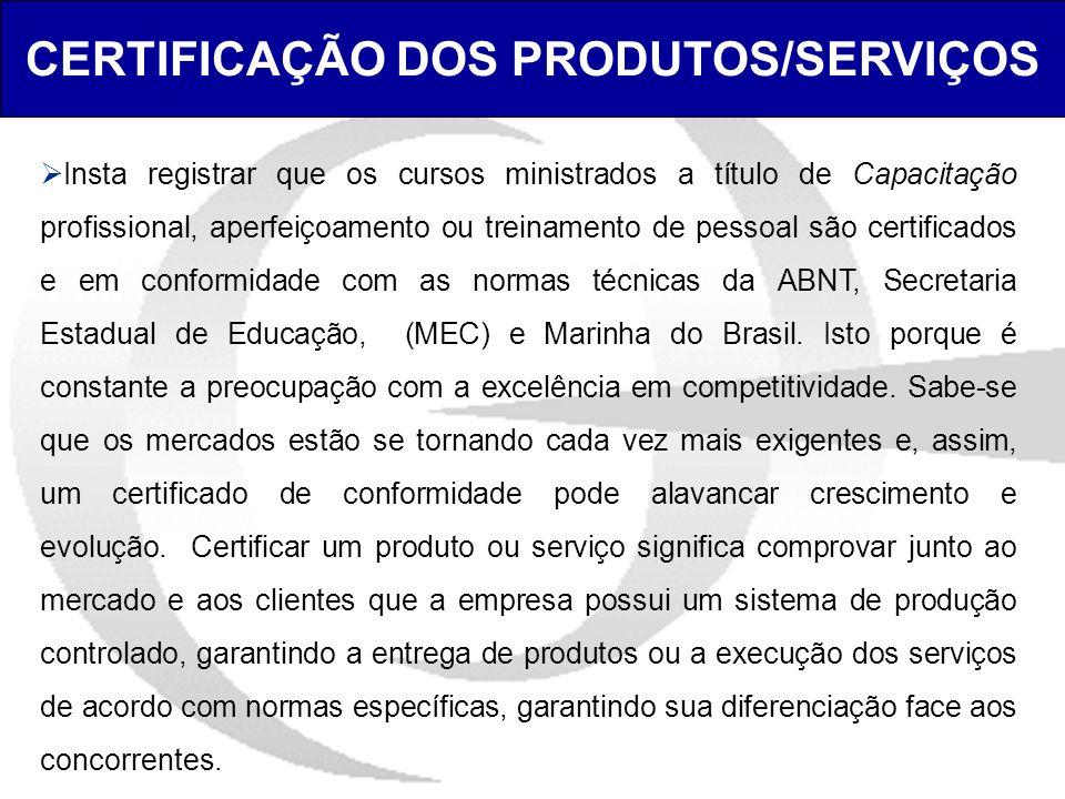 CERTIFICAÇÃO DOS PRODUTOS/SERVIÇOS