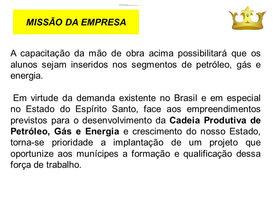 MISSÃO DA EMPRESA A capacitação da mão de obra acima possibilitará que os alunos sejam inseridos nos segmentos de petróleo, gás e energia.