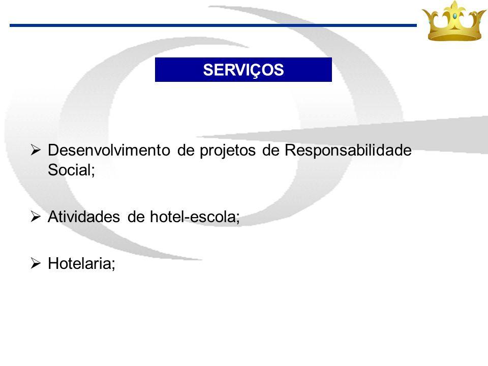 SERVIÇOSDesenvolvimento de projetos de Responsabilidade Social; Atividades de hotel-escola; Hotelaria;