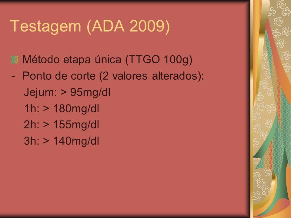 Testagem (ADA 2009) Método etapa única (TTGO 100g)