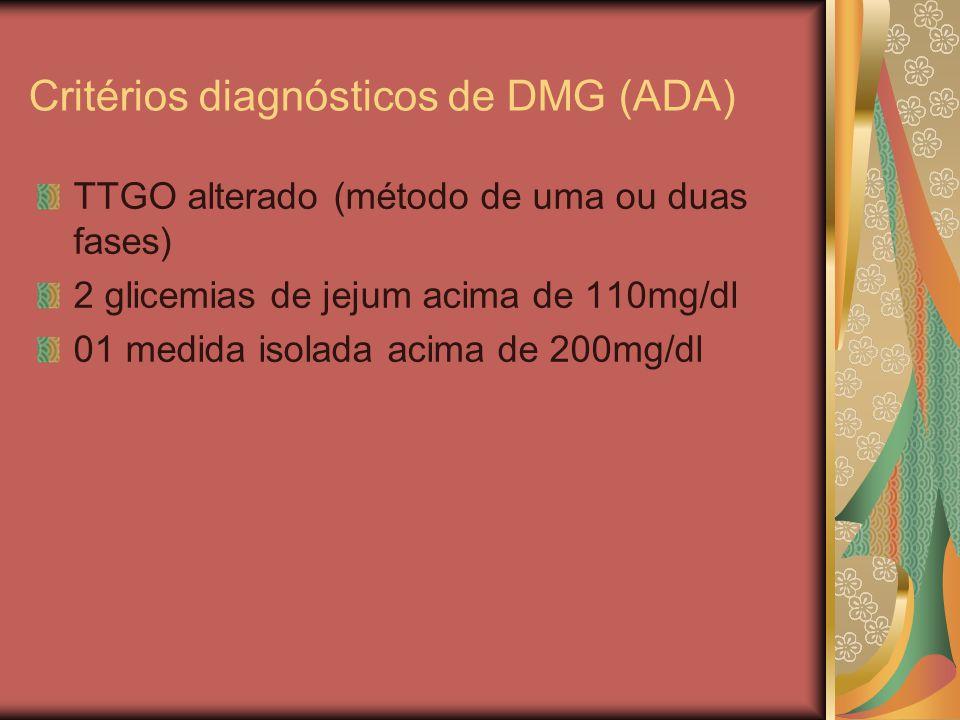 Critérios diagnósticos de DMG (ADA)