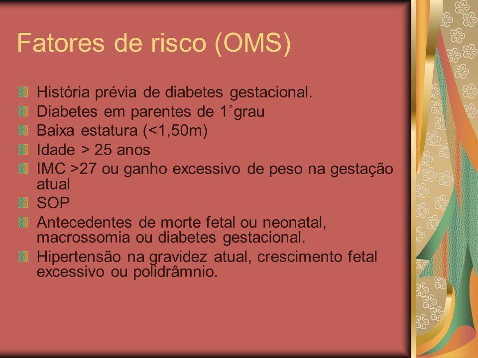 Fatores de risco (OMS) História prévia de diabetes gestacional.