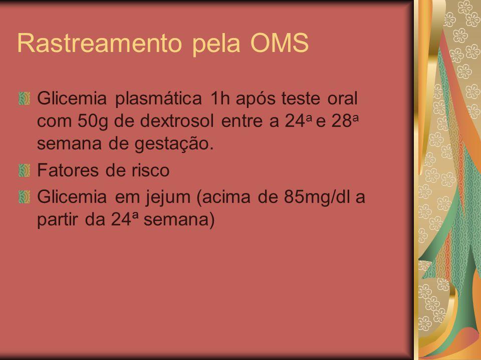 Rastreamento pela OMS Glicemia plasmática 1h após teste oral com 50g de dextrosol entre a 24a e 28a semana de gestação.