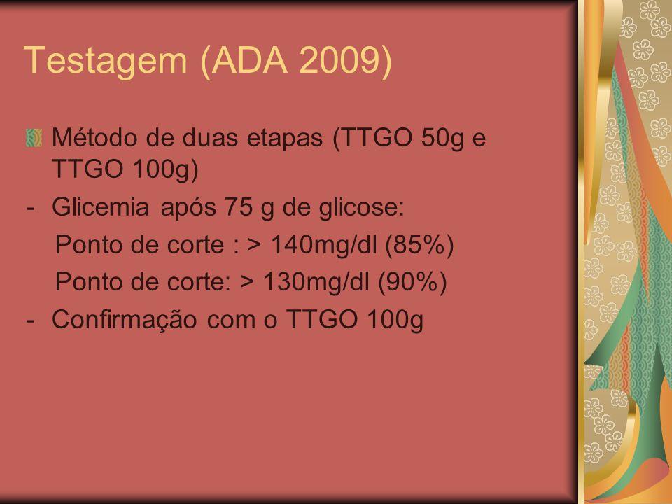 Testagem (ADA 2009) Método de duas etapas (TTGO 50g e TTGO 100g)
