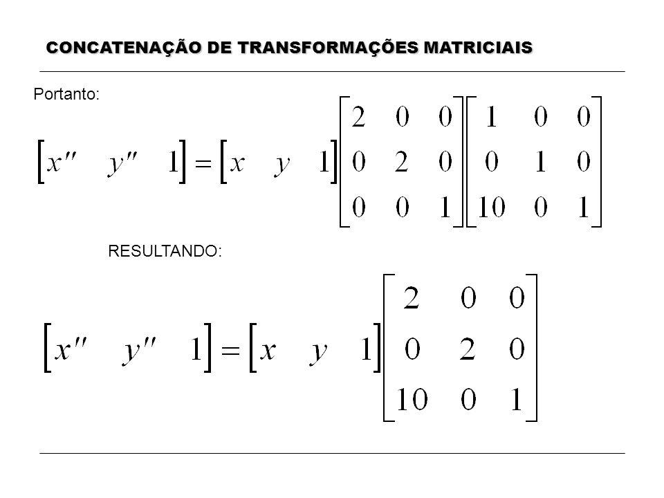 CONCATENAÇÃO DE TRANSFORMAÇÕES MATRICIAIS