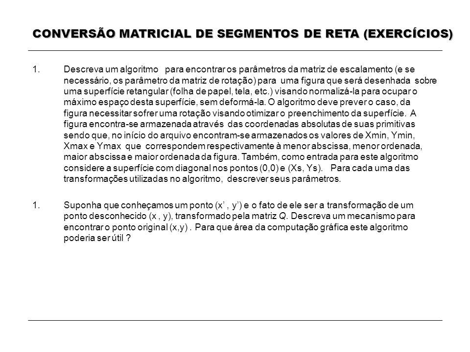 CONVERSÃO MATRICIAL DE SEGMENTOS DE RETA (EXERCÍCIOS)