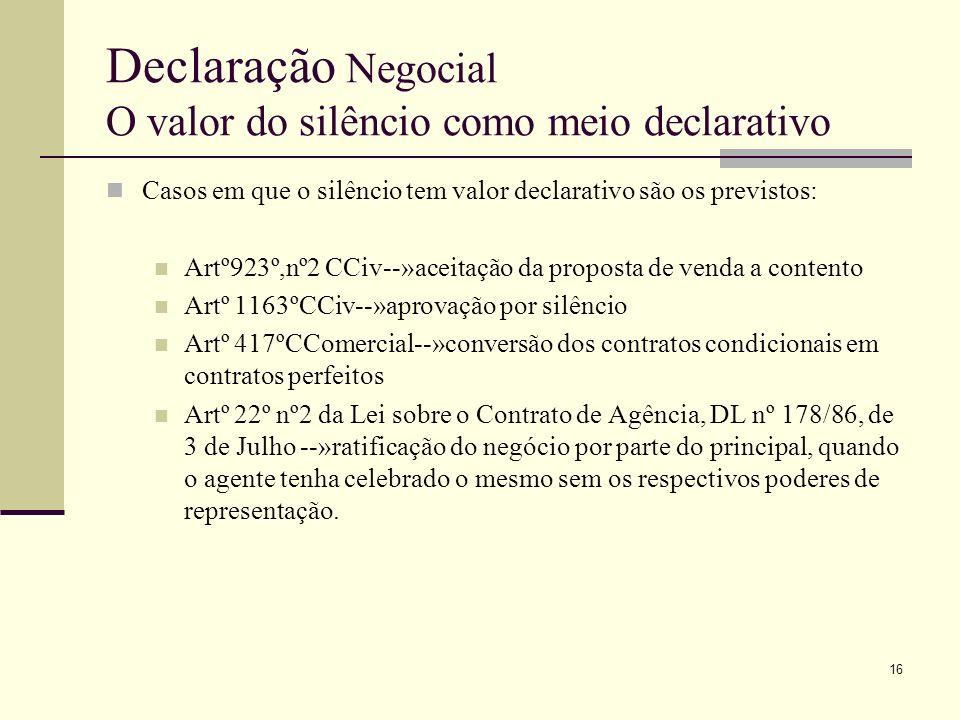 Declaração Negocial O valor do silêncio como meio declarativo