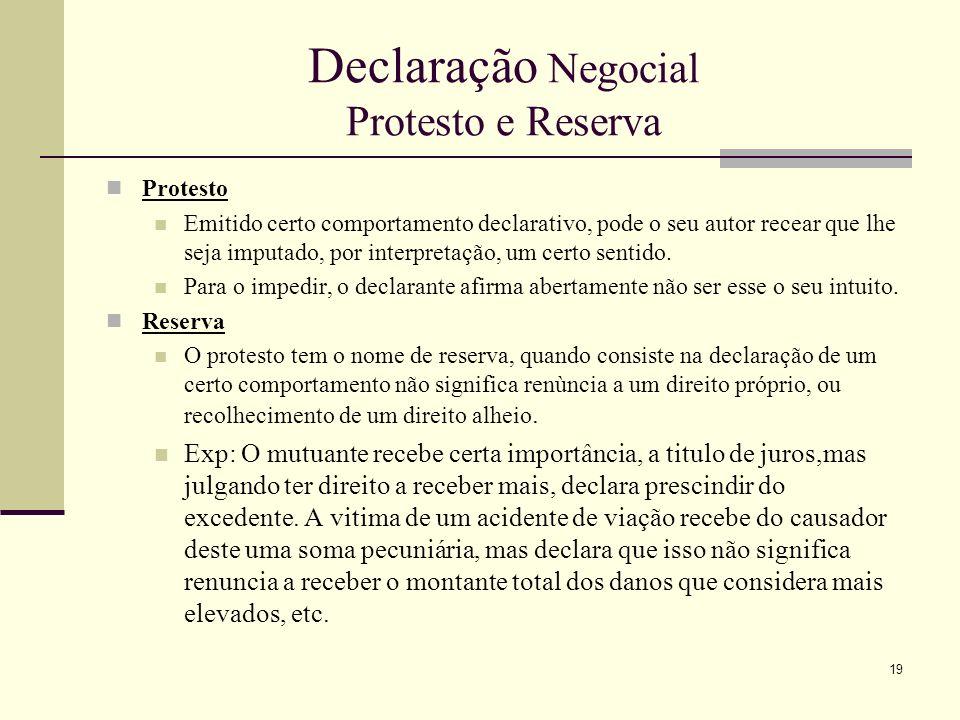 Declaração Negocial Protesto e Reserva
