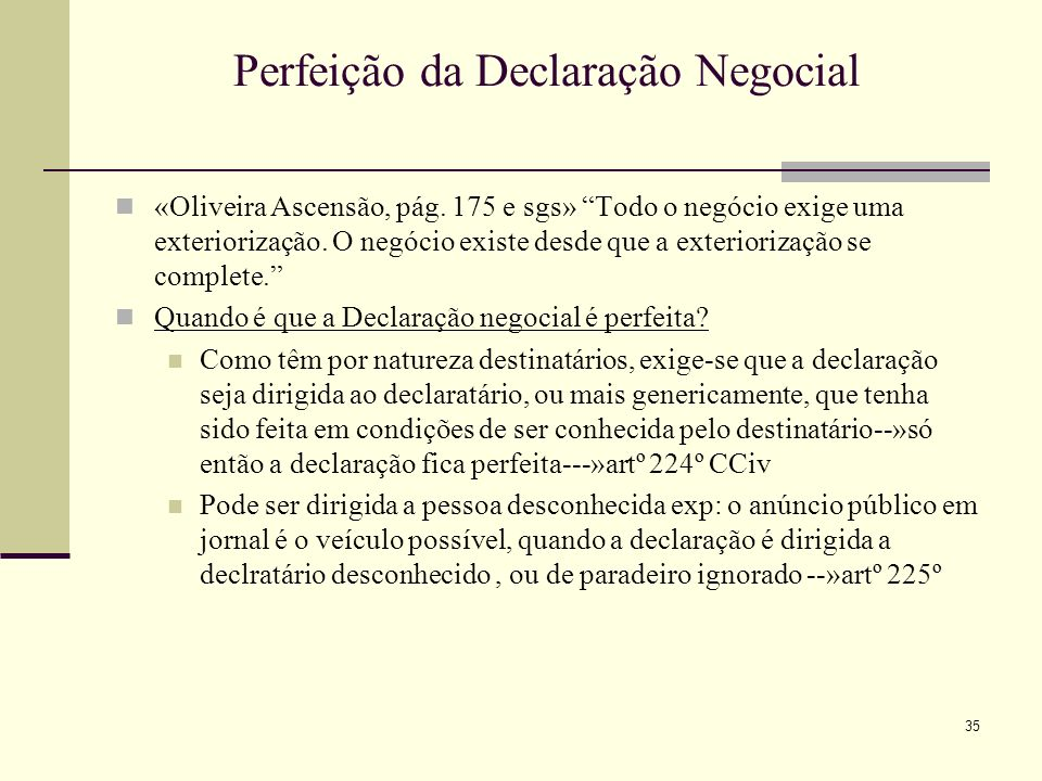 Perfeição da Declaração Negocial