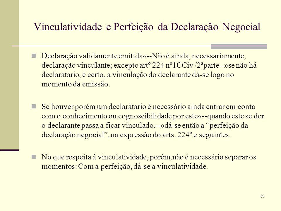 Vinculatividade e Perfeição da Declaração Negocial
