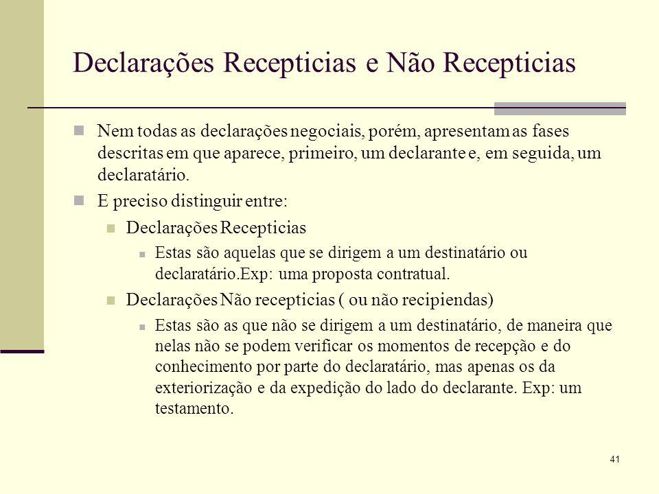 Declarações Recepticias e Não Recepticias