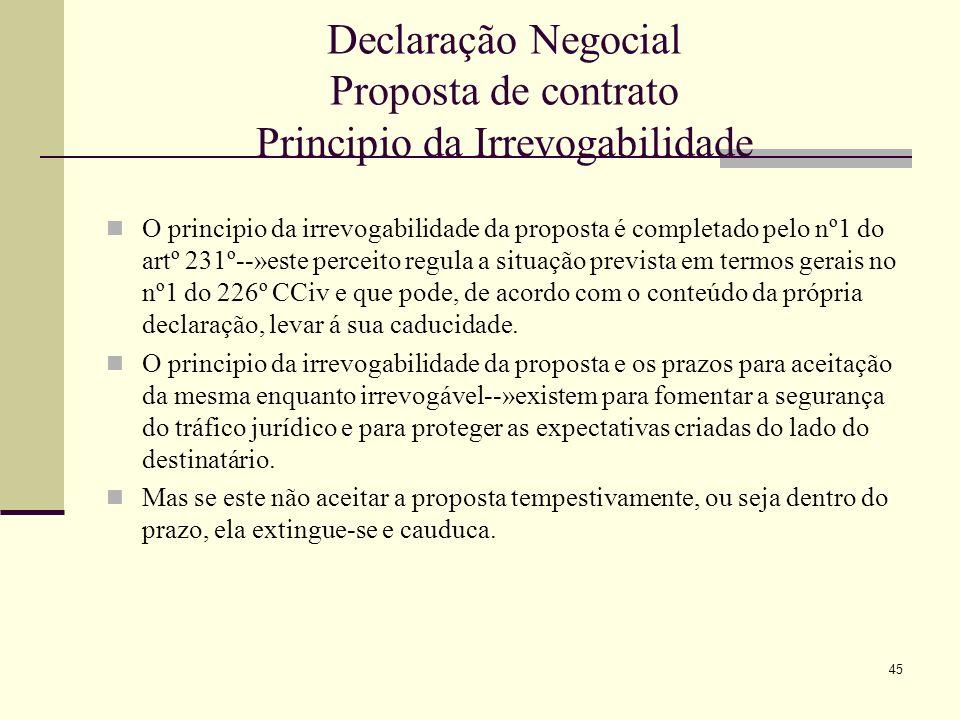 Declaração Negocial Proposta de contrato Principio da Irrevogabilidade