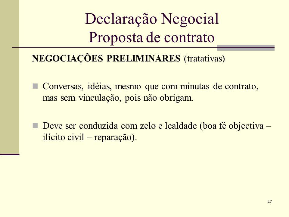 Declaração Negocial Proposta de contrato