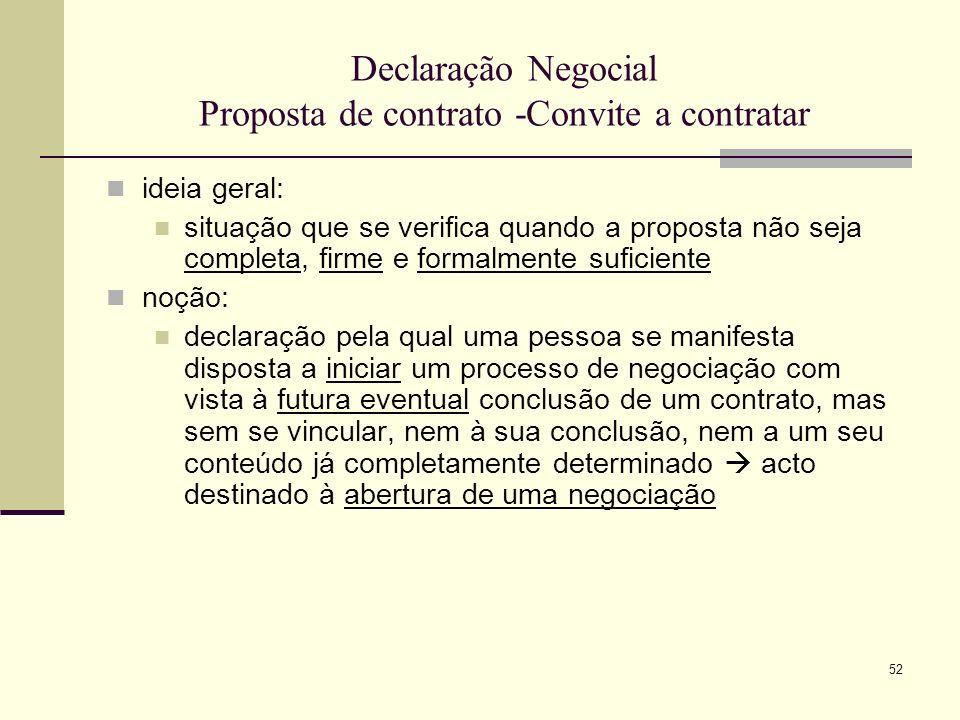 Declaração Negocial Proposta de contrato -Convite a contratar