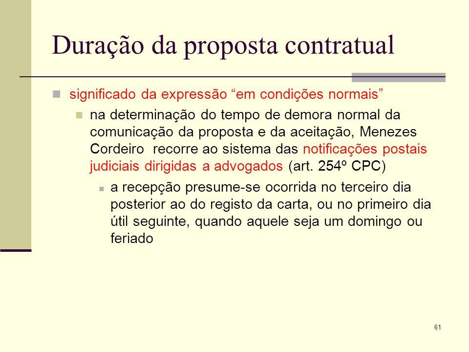 Duração da proposta contratual