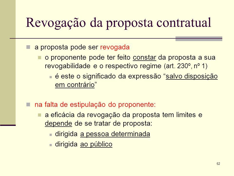 Revogação da proposta contratual