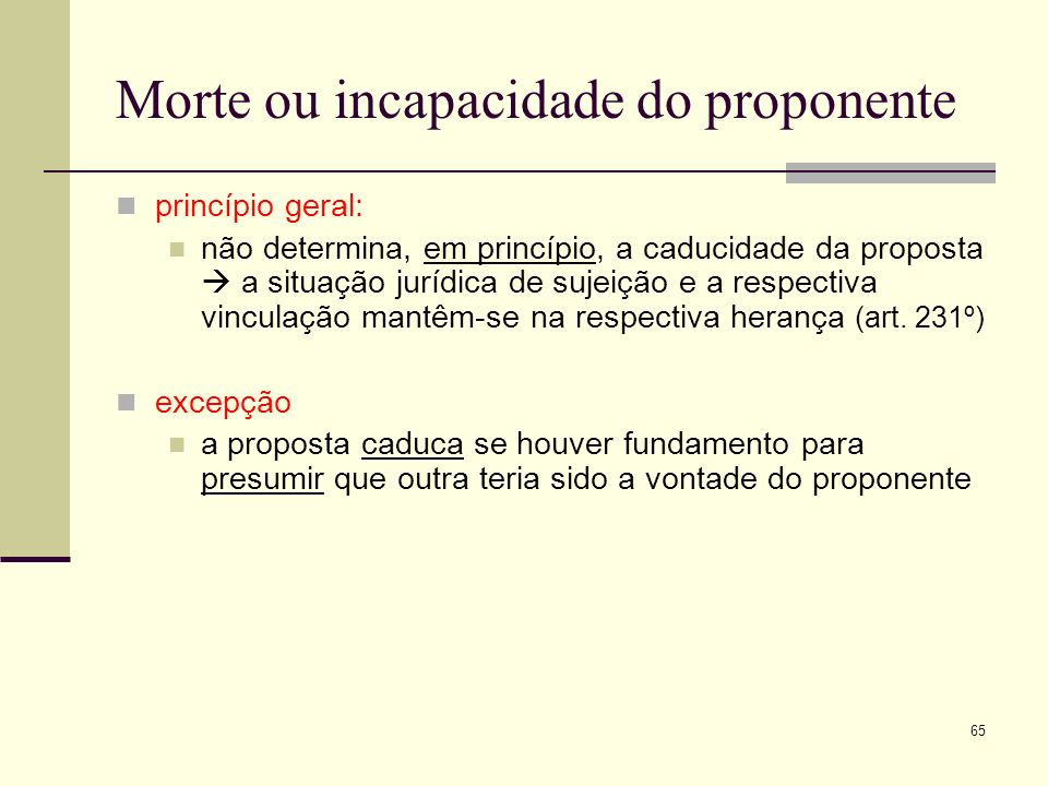 Morte ou incapacidade do proponente