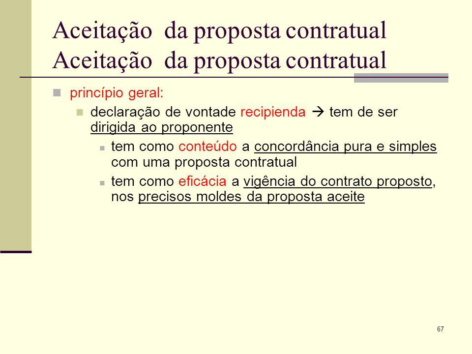 Aceitação da proposta contratual Aceitação da proposta contratual