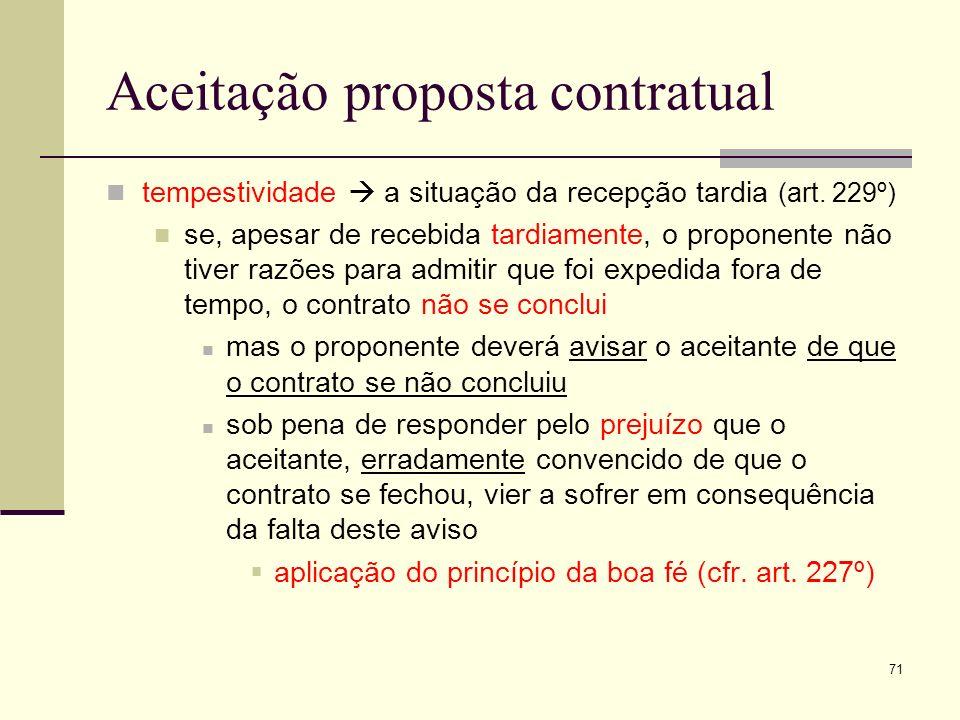 Aceitação proposta contratual