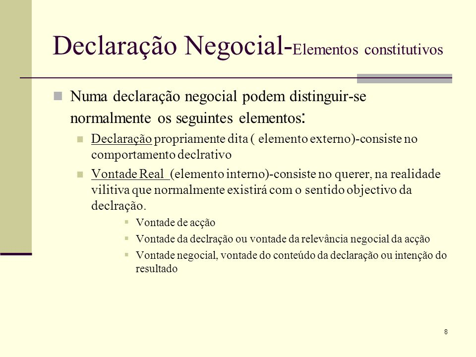 Declaração Negocial-Elementos constitutivos