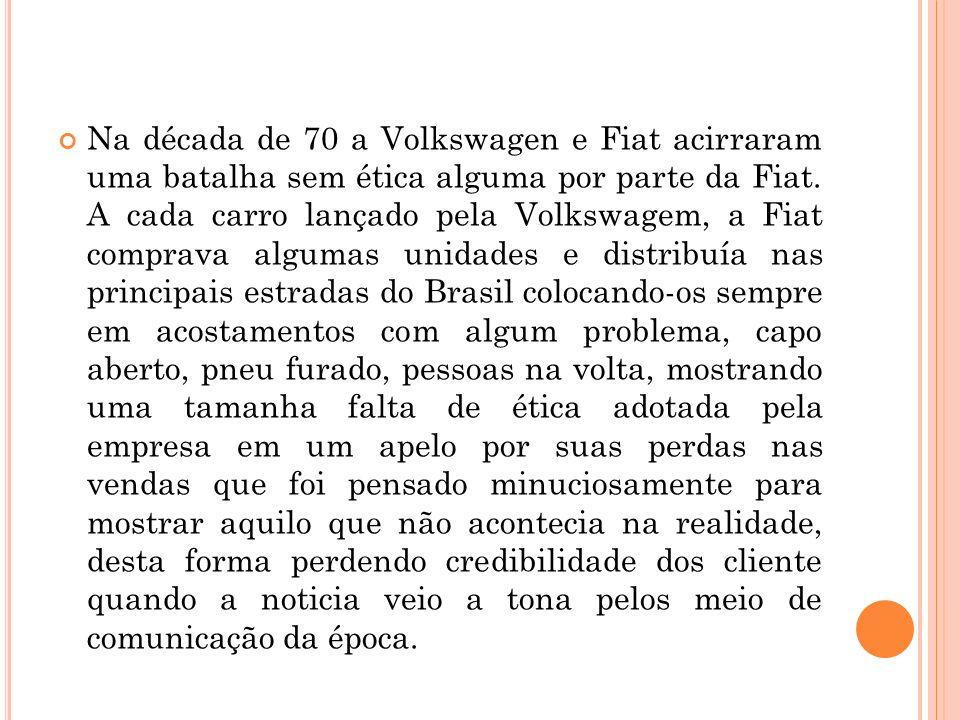 Na década de 70 a Volkswagen e Fiat acirraram uma batalha sem ética alguma por parte da Fiat.