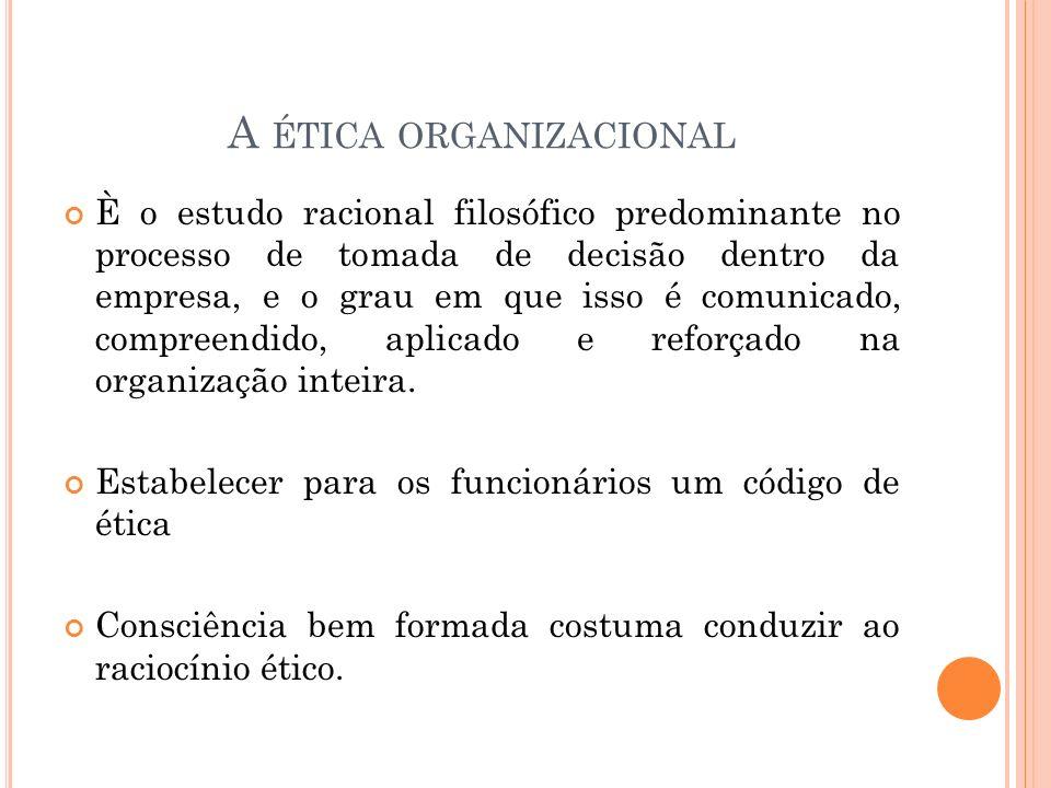 A ética organizacional