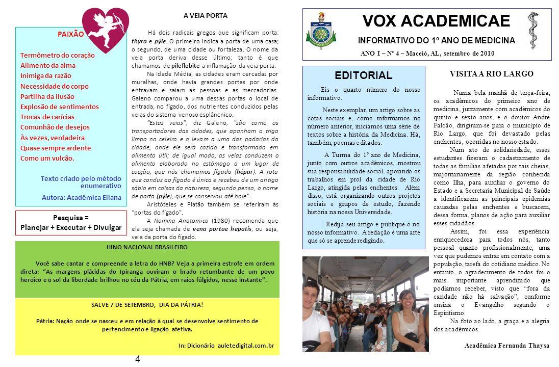 VOX ACADEMICAE EDITORIAL 4 INFORMATIVO DO 1º ANO DE MEDICINA PAIXÃO
