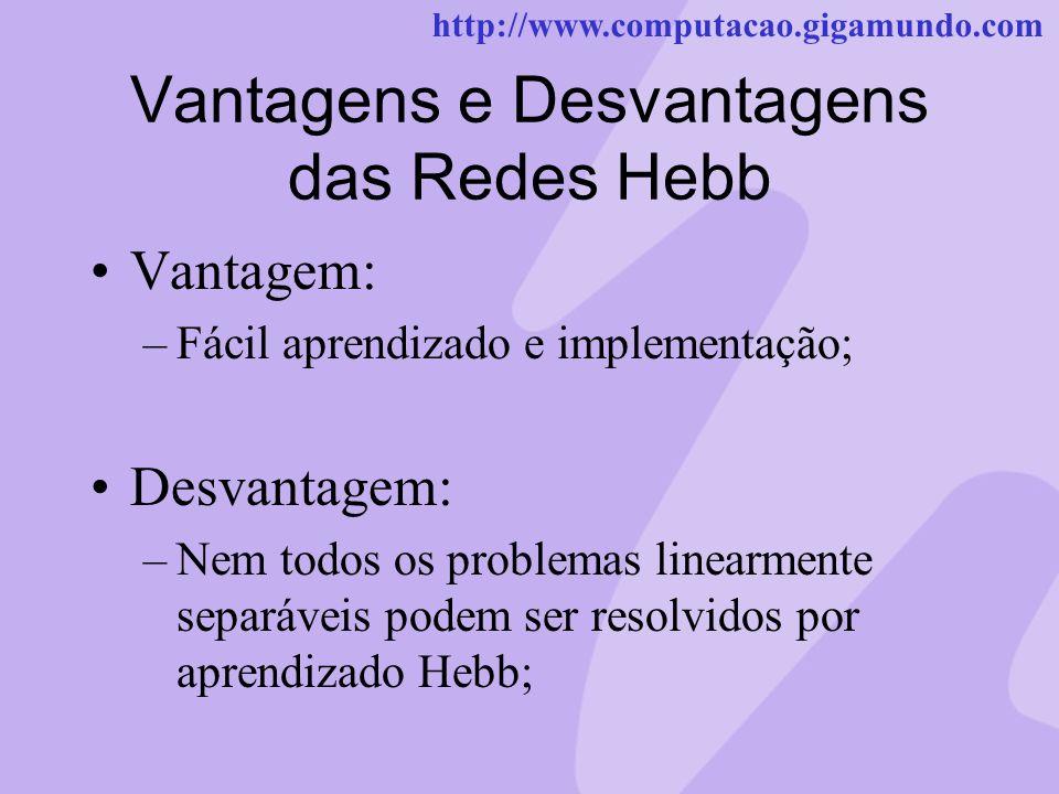 Vantagens e Desvantagens das Redes Hebb