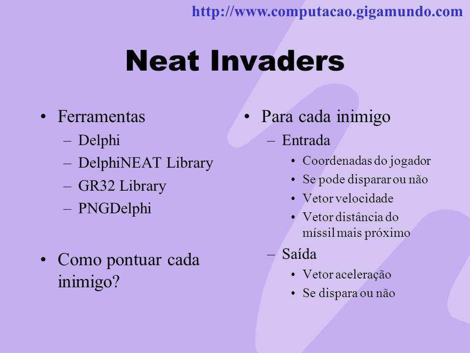 Neat Invaders Ferramentas Como pontuar cada inimigo Para cada inimigo