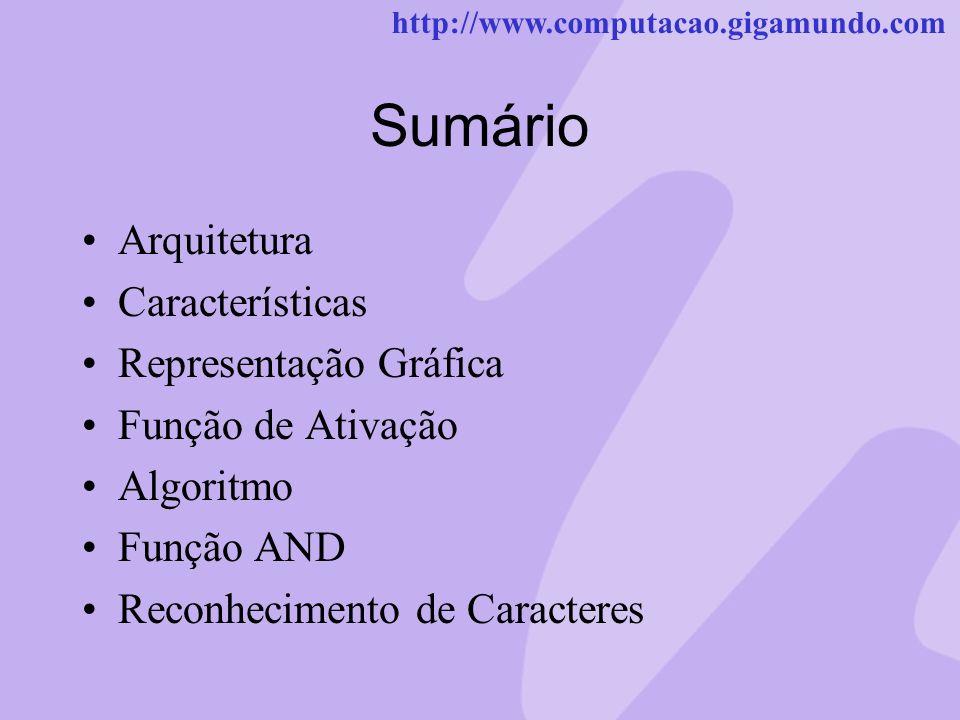 Sumário Arquitetura Características Representação Gráfica