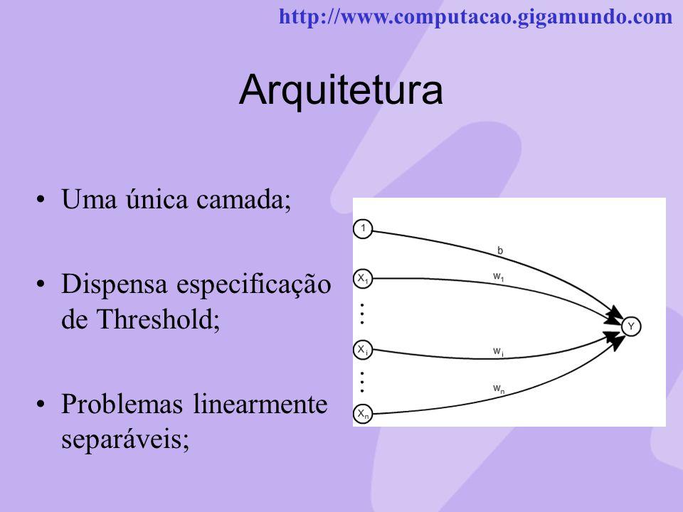 Arquitetura Uma única camada; Dispensa especificação de Threshold;