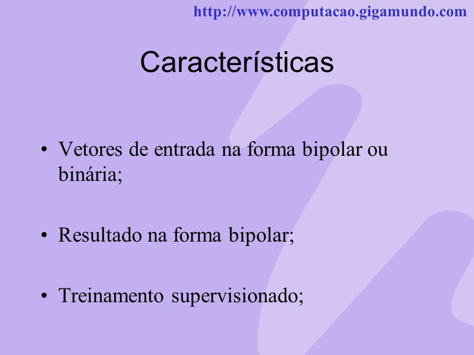 Características Vetores de entrada na forma bipolar ou binária;