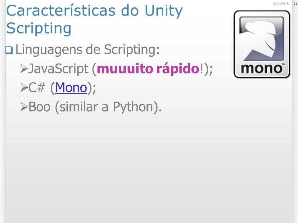 Características do Unity Scripting