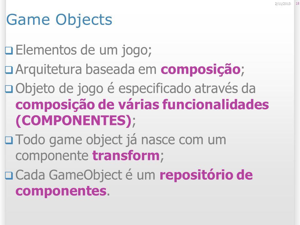 Game Objects Elementos de um jogo; Arquitetura baseada em composição;