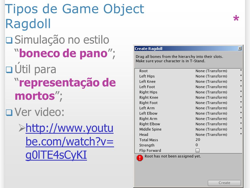 Tipos de Game Object Ragdoll