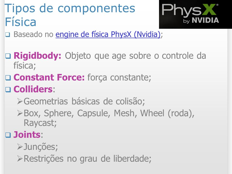 Tipos de componentes Física