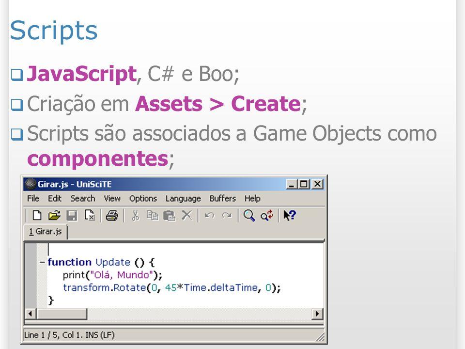Scripts JavaScript, C# e Boo; Criação em Assets > Create;