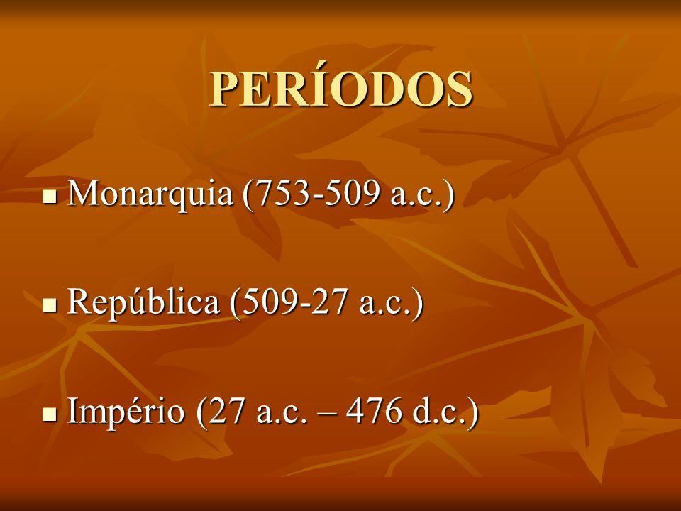 PERÍODOS Monarquia (753-509 a.c.) República (509-27 a.c.)
