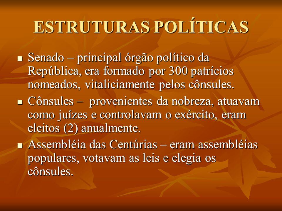 ESTRUTURAS POLÍTICAS Senado – principal órgão político da República, era formado por 300 patrícios nomeados, vitaliciamente pelos cônsules.