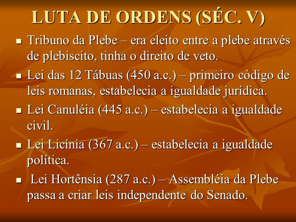 LUTA DE ORDENS (SÉC. V) Tribuno da Plebe – era eleito entre a plebe através de plebiscito, tinha o direito de veto.