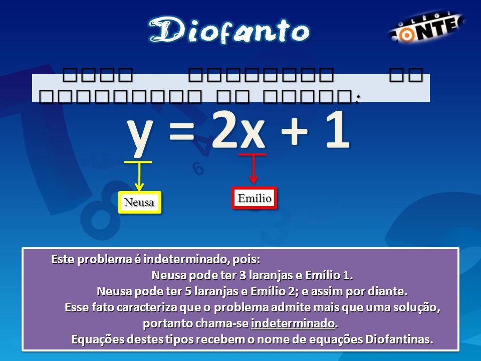 y = 2x + 1 Esse problema se equaciona na forma: