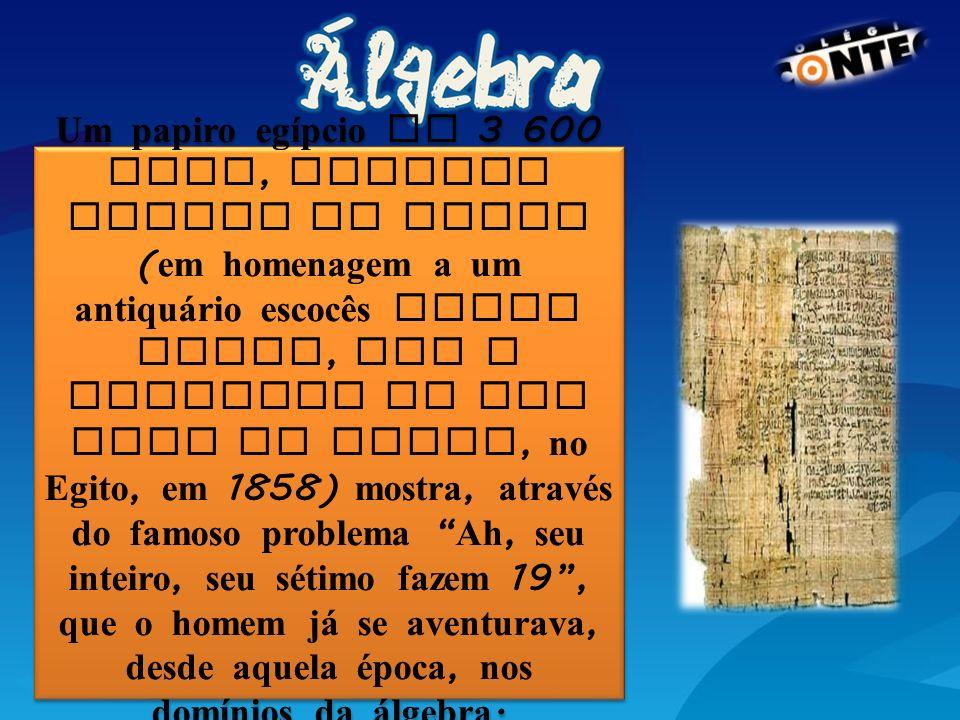 Um papiro egípcio de 3 600 anos, chamado Papiro de Rhind (em homenagem a um antiquário escocês Henry Rhind, que o adquiriu em uma loja de Luxor, no Egito, em 1858) mostra, através do famoso problema Ah, seu inteiro, seu sétimo fazem 19 , que o homem já se aventurava, desde aquela época, nos domínios da álgebra.