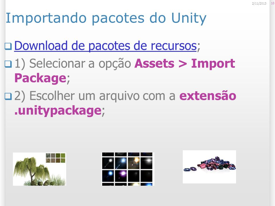 Importando pacotes do Unity