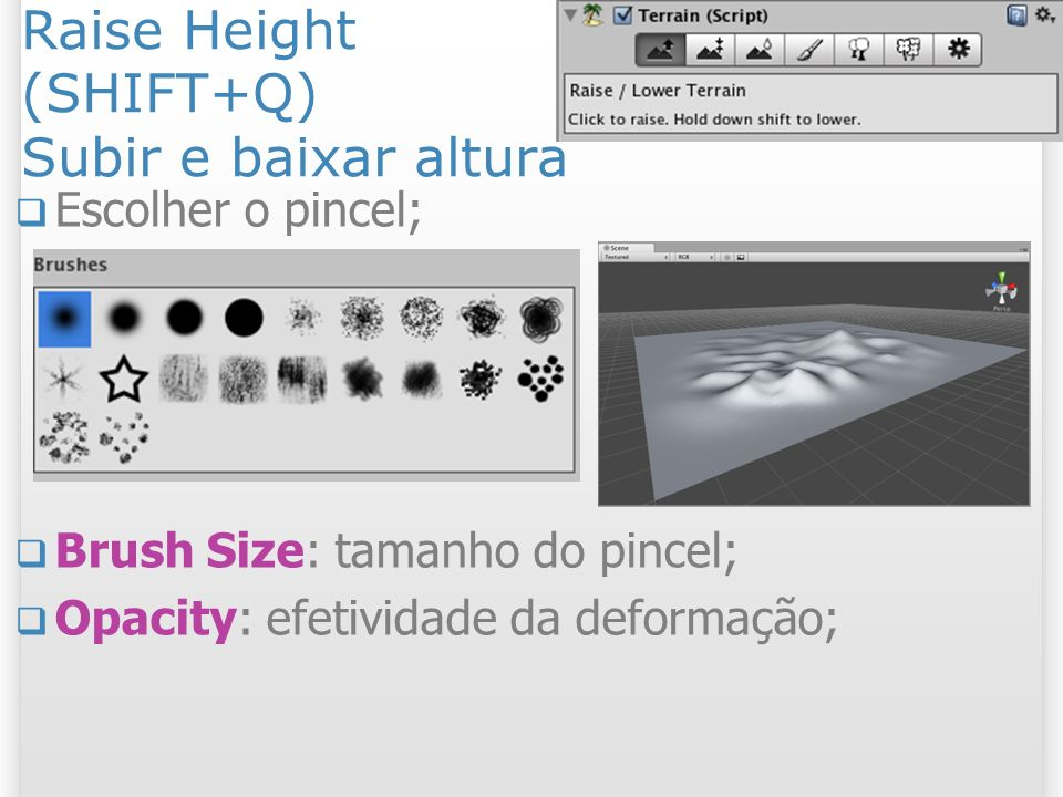 Raise Height (SHIFT+Q) Subir e baixar altura