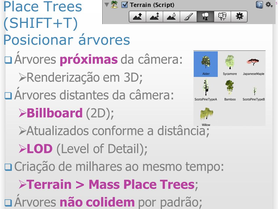 Place Trees (SHIFT+T) Posicionar árvores